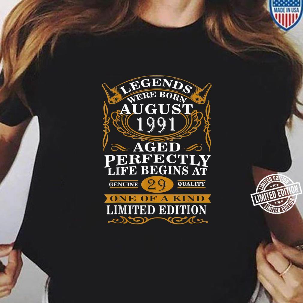 August 1991 29th Birthday 29 Years Old Shirt ladies tee