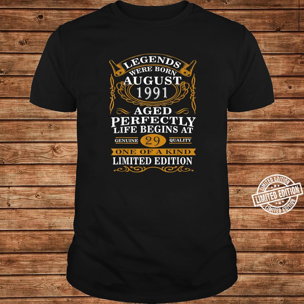 August 1991 29th Birthday 29 Years Old Shirt long sleeved
