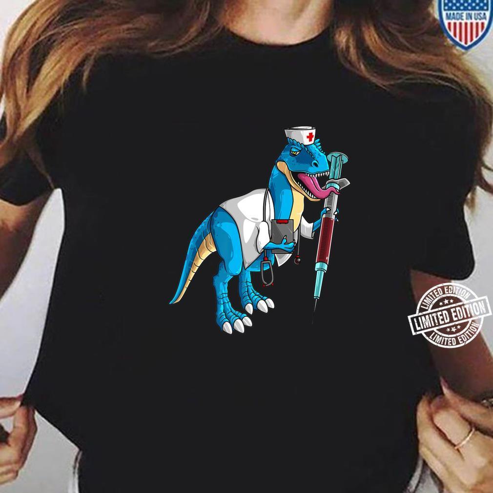 Cute Nurse Dinosaur Love Registered Nursesaurus Shirt ladies tee