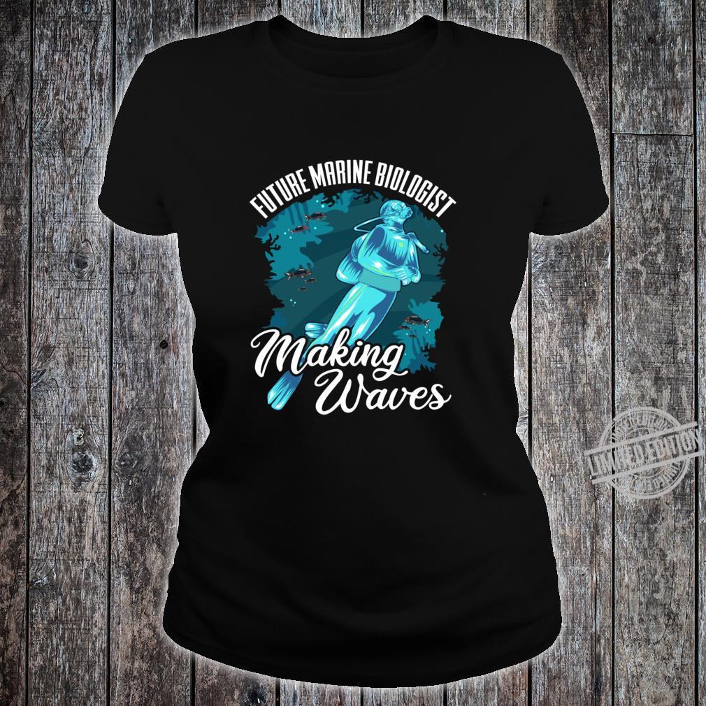 Funny Future Marine Biologist Making Waves Pun Shirt ladies tee