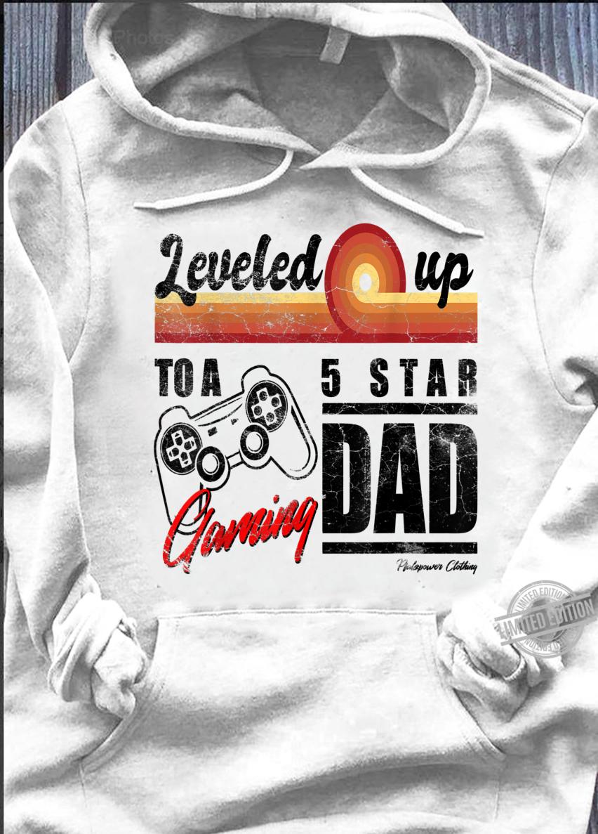 Herren Werdender Papa Geschenk Gamer Dad Schwangerschaft Leveled Up Shirt